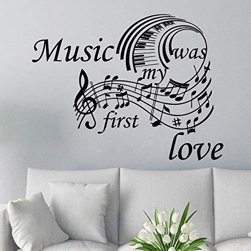 MRQXDP Piano Toetsenbord Muursticker Muziek Quote Vinyl Muursticker Muziek Studio Interieur Ontwerp Wandmuurschildering Huisdecoratie Vinyl Decal 57x75cm Dorm Muursticker