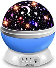 Moredig Starry Ceiling Night Light Projector,360 Degree Rotating Light Projector with 8 Color Light Change for Kids Baby - Blue Night Light
