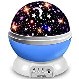 Moredig Starry Ceiling Night Light Projector, 360 Degree Rotating Light Projector with 8 Color Light Change for Kids Baby - Blue Night Light