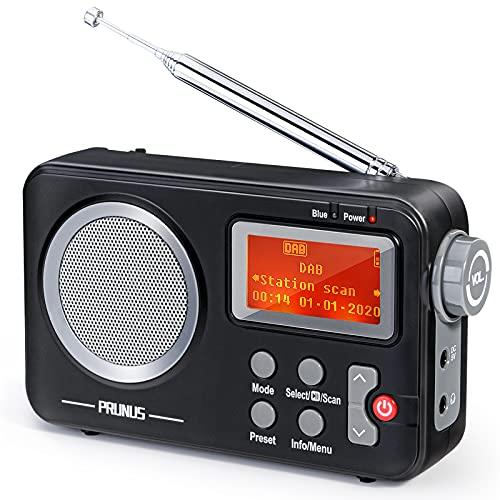PRUNUS Radio Dab J-409, Radio Digitale Portable FM, Radio avec Haut-Parleur Bluetooth et Fonction Préréglage, Fonction temporelle, Équipé d'un Grand Écran et d'un Grand Bouton