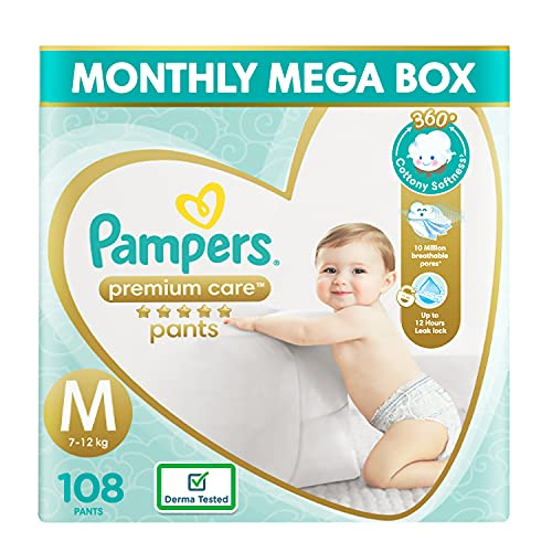Pampers Premium Care Pants, Medium size baby diapers (MD), 108 Count, Softest ever Pampers pants (Baby Product)