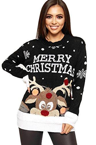 WearAll - Maglia da donna a maglia, motivo natalizio, con fiocchi di neve e renna, decorazioni con pompon, taglie 42-56 Nero 40-42