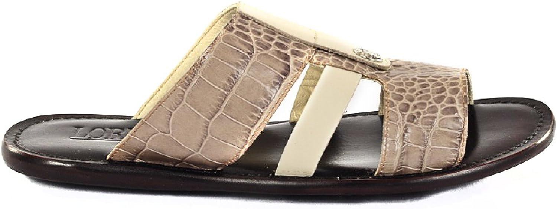 Loriblue 2322 Beiege Leather Italian Designer Summer Men Sandals