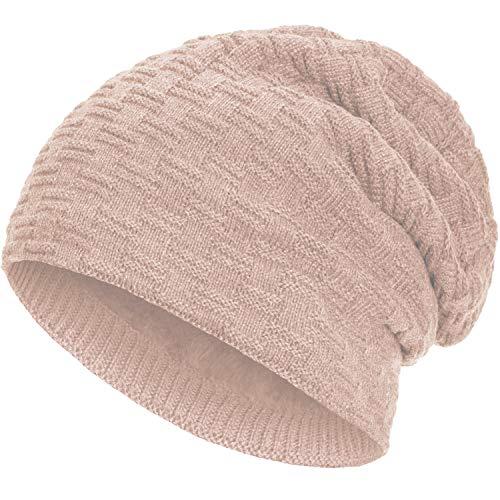 Compagno warm gefütterte Wintermütze Beanie Strickmütze Hat Herren Damen Mütze Haube Einheitsgröße, Farbe:Rose
