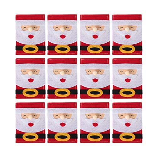 Amosfun 12pz argenteria natalizia porta tovagliolo in tessuto non tessuto sacchetti portaoggetti posate porta cucchiaio per decorazioni per feste