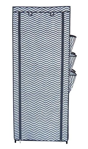 Ablage Schuhablage Schuhschrank 6 Ablagen 6 Seitentaschen 1 Aufbewahhrungsbox 150 x 60 x 30 cm STAHLGRAU mit Design Zacken Schuhregal Schuhkommode Vliesstoff eco-friendly