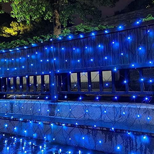 ZJQ-Festival Exterior Luces de Red de Pesca, Impermeable 8 Modos Luces de Ambiente de Fiesta, para Patio, Jardín, Bodas, Navidad,Azul,1.5M*1.5M
