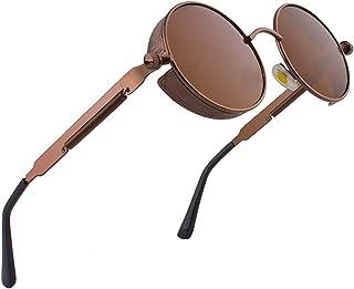RUICHUANGS Occhiali da Sole Rotondi SteamPunk, Occhiali da Sole Uomo Donna, Retrò Occhiali UV400 Protezione Metallo Telaio