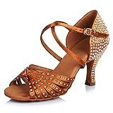 TINRYMX Mujer/Niña Zapatos Baile Latinos de satén Diamante de imitación de Salón Salsa Latina Tango Práctica Zapatos de Baile,Modelo-AF-CT45902,Marrón,Tacón-6.5CM,33 EU