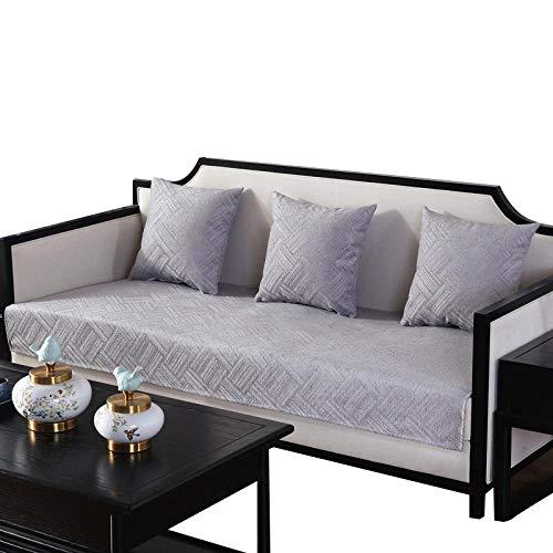 HXTSWGS Juego de Fundas de sofá Funda de sofá de Color sólido Funda de sofá elástica para Sala de Estar Esquina de Mascotas Chaise Longue en Forma de L Toalla de sofá-Gris_70x150cm 27x59in