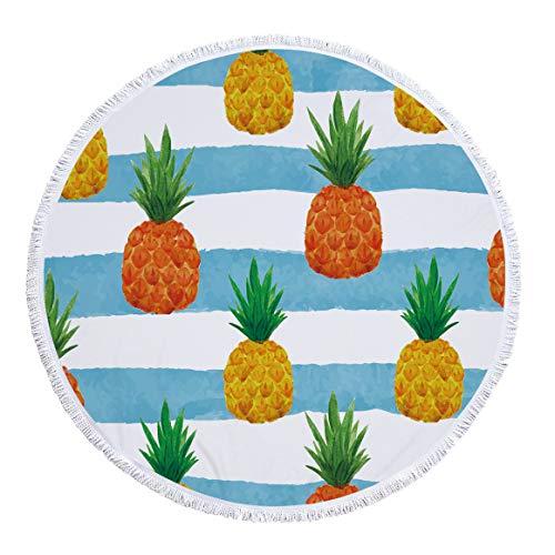 xkjymx Toalla de Playa Redonda de Microfibra Toalla de baño Estampado de Plantas con Borla 150cm Figura 5 150X150cm