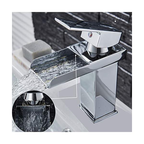Grifo monomando para lavabo y lavabo, grifo monomando de control de flujo cromado
