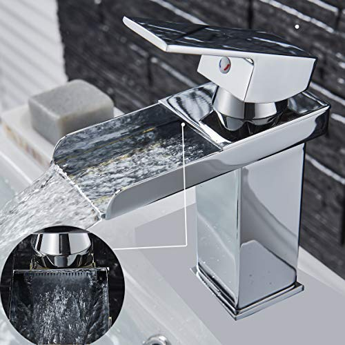 Grifo monomando de lavabo cromado para cascada