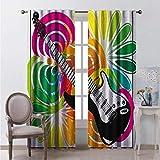Toopeek Popstar - Cortinas opacas con bolsillo para barra de dormitorio, diseño floral abstracto con guitarra eléctrica, diseño energético, 2 paneles de 54 x 84 pulgadas, multicolor