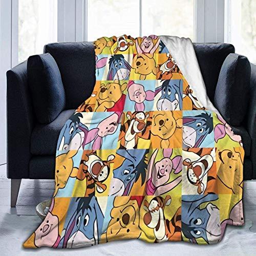 Love You Winnie The-Pooh - Coperta in pile ultra morbida per divano o letto, coperta calda per soggiorno, 200 x 150 cm, piccola per bambini