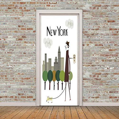 Fantxzcy türaufkleber 3d Karikatur New York City Gebäude 34.6x78.7 inch Kunst Tür Aufkleber 3D Mode Aufkleber Kunst Dekor Wand Fenster Tür Aufkleber abnehmbare Wandplakat