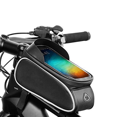 GHabby Bolsa para Cuadro de Bicicleta para Exteriores, Bolsa para Sillín de Tubo Superior para Bicicleta, Bolsa para Viga Delantera para Bicicleta de Montaña, para Teléfonos de hasta 6.2 Pulgadas