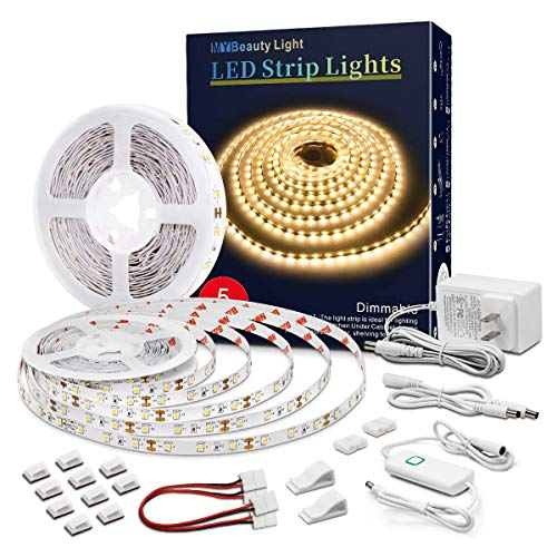 Led Strip Lights 32.8 Feet Warm White Dimmable Led Light Strip Flexible Rope Lights Kits with 12v Etl Power Supply, Adhesive Clips, Dimmer Switch and Connectors for Indoor Decor
