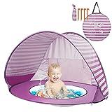 Yalojan Tenda da Spiaggia per Bambini, Pop-up Tenda per Bambini con Piscina per Bambini,Tenda Pieghevole Portatile Protezione Solare Anti UV 50, Tenda per Parco Vacanze sulla Spiaggia. (Rosa)