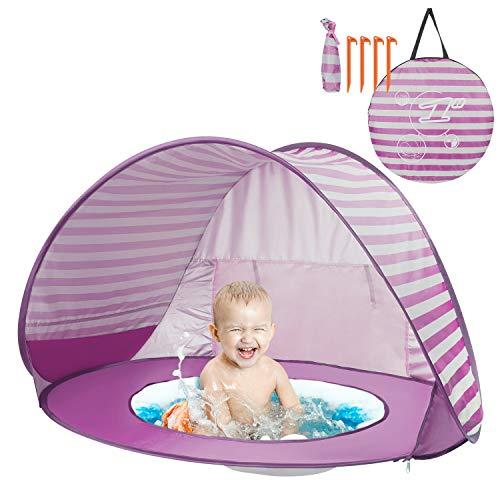 Yalojan Baby Strandzelt mit eingebautem Pool, Tragbares Leichtes Pop-up Baby Strand Zelt, Markise UPF 50+, geeignet für Kinder von 0 bis 3 Jahren, bietet Platz für 1-2 Kinder. (Rosa Streifen)