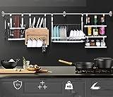 304 Stainless Steel Kitchen Shelves Wall Hanging Turret 3 Layer Spice Jars Organizer Foldable Dish Drying Rack Kitchen Utensils Holder