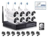KIT VIDEOSORVEGLIANZA WIRELESS FULL WIFI HD IP 8 TELECAMERE NVR LAN REMOTO 3G 1 TB
