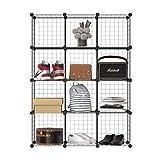 本棚 整理棚 収納棚 終身交換承り メタルラック ワイヤー収納ラック 衣類収納ボックス DIY(ブラック 12BOX)