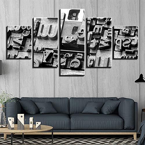 Zaosan Arte de Pared de Lienzo 5 Piezas de Cuadros Abstractos de Pared con Fondo Blanco y Negro Impresiones de póster Pintura Sala de Estar decoración del hogar