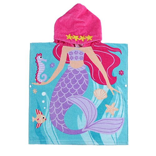 C.N Child 100% Cotton Hooded Towel 24 x 48 inches (Mermaid)