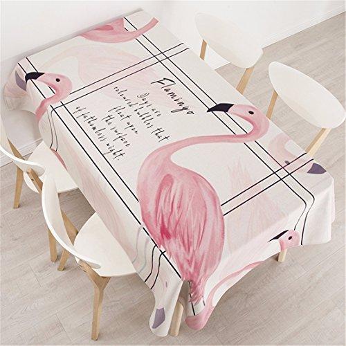 HXC Home 140 x 200 cm beige roze flamingo minimalistisch tafelkleed katoen linnen eettafel reception rechthoekige vierkant niet strijken milieuvriendelijk tafelkleed