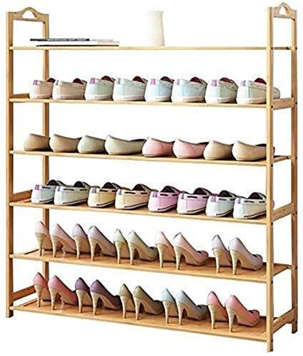 QZMX Estante de Zapatos Bastidores del Zapato, Estante for Zapatos de Entrada en Madera con 6 Niveles Organizador, Hecho de 100% de Madera Natural, Puede Contener 30 Pares de Zapatos Estante