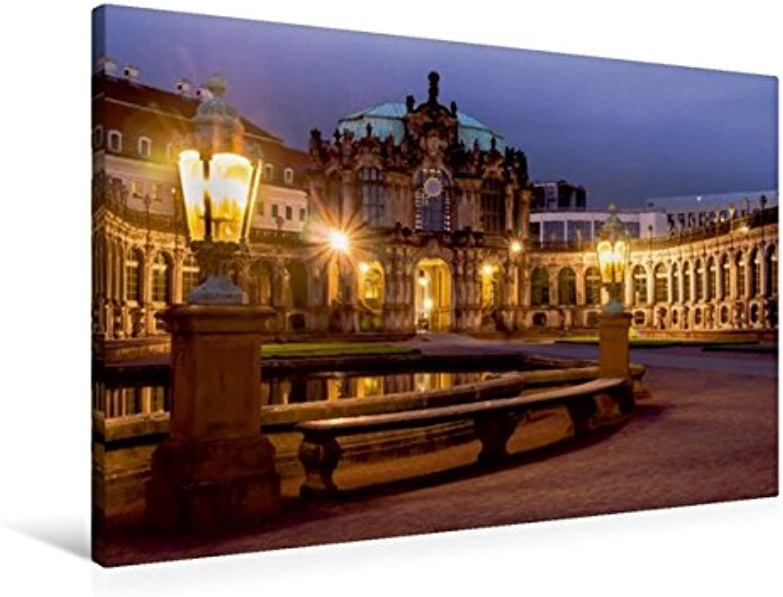 Calvendo Premium Textil-Leinwand 90 cm x 60 cm quer, Dresden - Zwinger   Wandbild, Bild auf Keilrahmen, Fertigbild auf echter Leinwand, Leinwanddruck  EIN zur Blauen Stunde Orte Orte