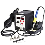 Flexzion Hot Air Soldering Station SMD Gun 2in1 Iron Solder Digital Rework Set Welder Repaire Tool with Dual LCD 3 Nozzles Power Switches Unit Electric 110V 898D