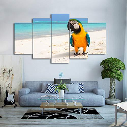 GUDOJK Holzrahmen Wandkunst Leinwand HD Drucken Rahmen Bilder Wohnkultur Wohnzimmer 5 Stücke Ruhen Vogel Papagei Malerei Strand Farbe Feder Poster 20x3520x45 20x55cm