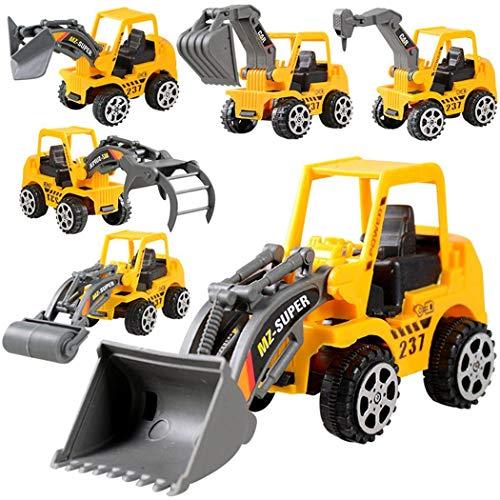 Fandazzie 6 Unids/set Kids Toy Mini Inercia Ingeniería Vehículo Excavadora Modelo Juguetes Set Boy Regalos Unisex