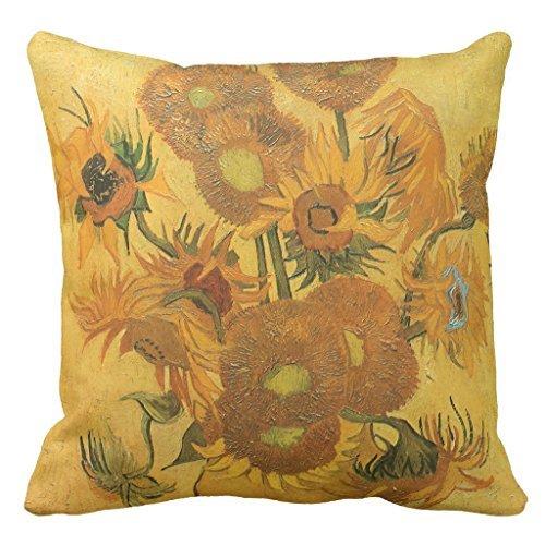 Vaas met 15 Zonnebloemen Kussensloop Decoratief Vierkant Canvas Stoelkussensloop met Rits 16 x 16