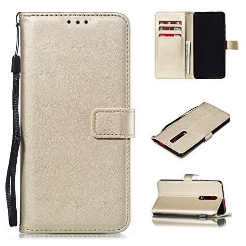 Snow Color Xiaomi Mi 9T/Redmi K20 Hülle, Premium Leder Tasche Flip Wallet Case [Standfunktion] [Kartenfächern] PU-Leder Schutzhülle Brieftasche Handyhülle für Xiaomi Mi9T Pro - COMS021219 Gold