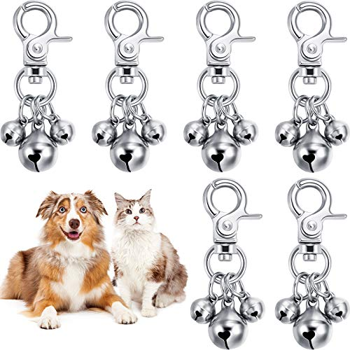 6 Pieces Pet Bells for Collars Loud Dog Bells Key Rings Dog Bell Collar Charm Dog Triple Bell Pendant for Dog Cat Necklace Collar Decoration and Training (Silver)