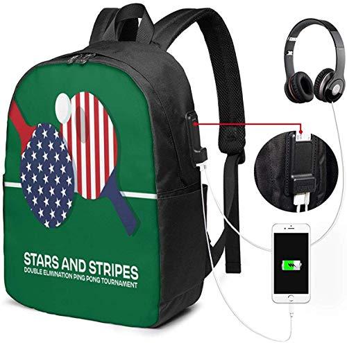 Mochila con Interfaz USB Stars & Stripes Ping Pong Tournamet 17-Inch Laptop Backpack...