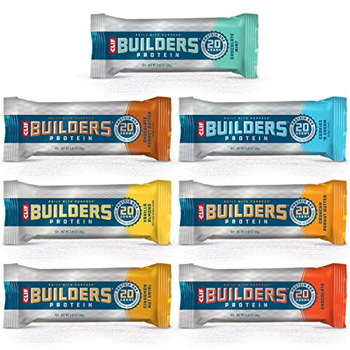 CLIF BAR - BUILDERS Protein Bar Variety Pack, 20 Grams of Protein, Helps Build & Repair Muscles, Replenishes Energy, Zero Trans Fat, Gluten-Free, Non-GMO (2.4 oz Per Bar, 2 of Each Flavor, 14 Count)