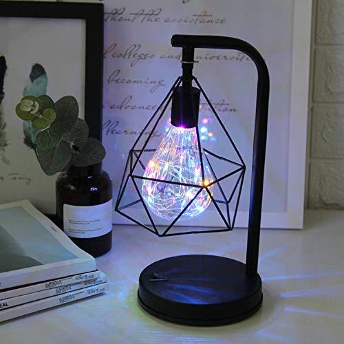 QEGY Lámpara de Cabecera Lámpara de Mesa Negro Industrial LED, 7RGB Lámpara de Noche Hierro Farol, 7 RGB Salón Lámpara Luz de Noche USB/Alimentado Batería, para Cuarto de Niños,Rgb