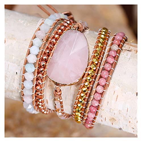 LIYDENG Pulsera de Cuero de Las Mujeres Pulsera de Cuero Piedras Naturales Pink Cuarzo Cristal 5 Strands Wrap Bracelets Bohemian Beads Pulsera China Pulsera (Color : China)
