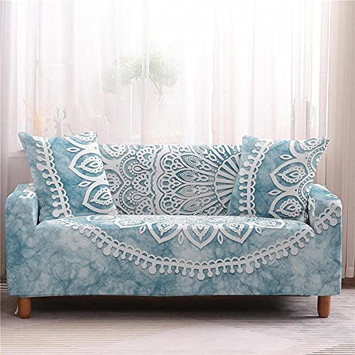 Funda de Sofá Elastica 1 Plazas Celosía De Flor Azul 3D PoliéSter Spandex Universal Ajustable Cubre Sofas Antisuciedad Antideslizante Protector Cubierta Muebles con Cuerda de Fijación