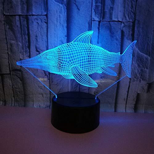 3D Lampe Optische Led Täuschung Nachtlicht,Meerestier Fisch Tischlampe 7 Farben Nachttischlampen Für Kinder Weihnachten Geburtstag Beste Geschenk Spielzeug