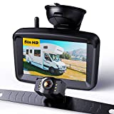 Wireless Backup Camera 5' Monitor, 720P HD License Plate Reverse Camera w/ Stable Signal for Rear View Car/Pickup/Semi Box Truck/Sedan/Rv/Van/Camper, Suitable Driving and Reversing, No Water-in