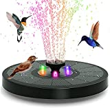 Upgraded 3W Solar Fountain Pump with LED Lights ,8 Nozzles for Different Water Styles,Solar Powered Fountain Pump for Bird Bath, Garden, Pond, Pool, Fish Tank, Outdoor