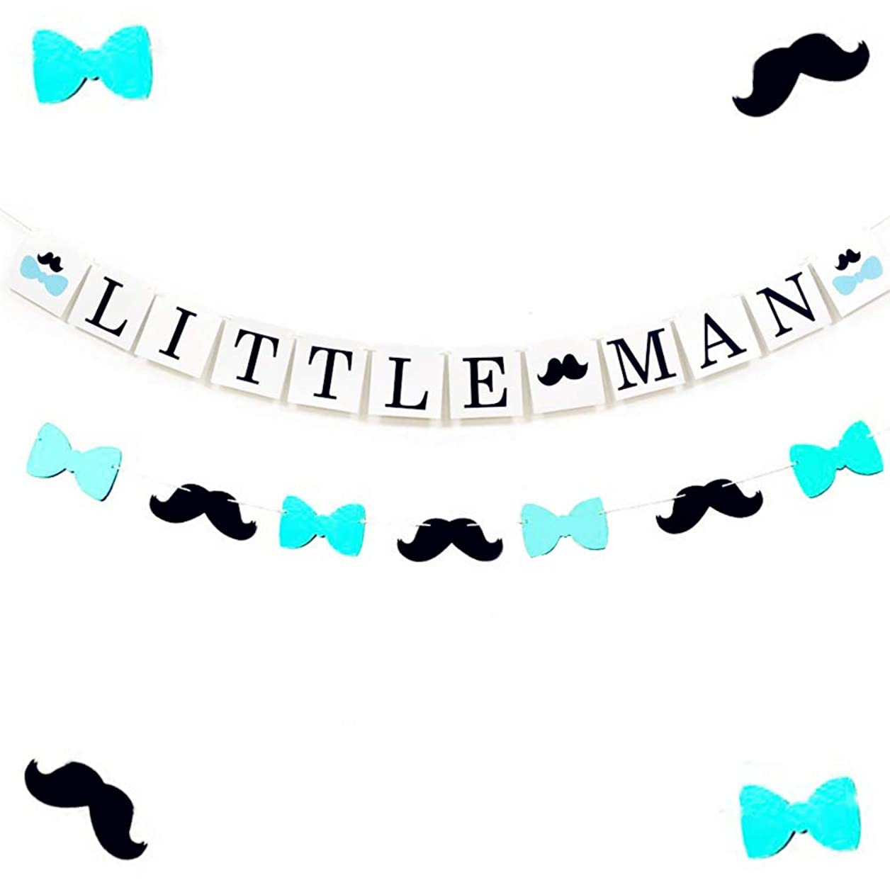 Set of 2 JeVenis Little Man Banner Banner Little Man Baby Shower Decoration Mustache Banner Bow Tie Baby Shower Black and White Baby Shower Boy Baby Shower zpujdjromusxhlye