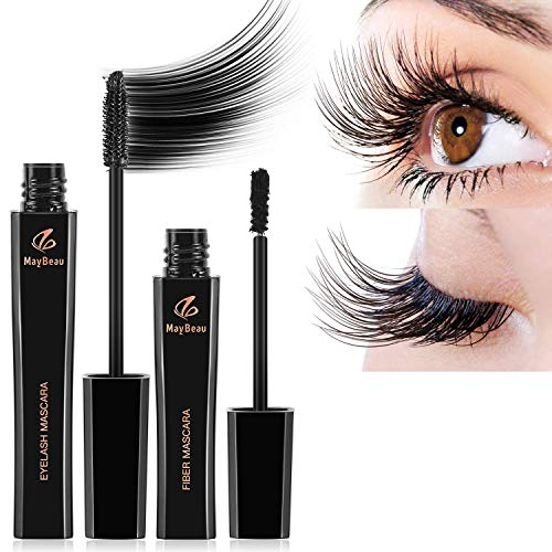 MayBeau 4D Mascara Kit Wimperntusche mit Silk Fiber Mascara Cream Wasserdicht Langanhaltende...
