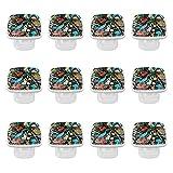 Paquete de 12 manijas cuadradas de cristal para armario, color de la puerta de la biología marina manija del gabinete del cajón con el tornillo para la cocina, el baño, el dormitorio de 35 mm