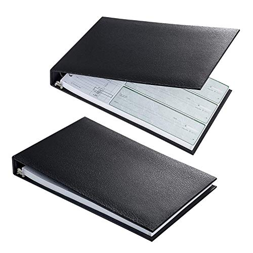Executive 7 Ring Check Binder, Great for Business Professionals, Premium PU leather business checkbook binder with 500 Check Capacity, 3 Check Sheets per Page,Calendar Organizer & Storage Pouch -Black